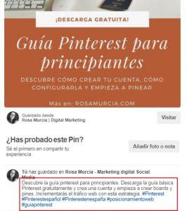 Añadir una descripción con palabras clave en Pinterest te ayudará a posicionarte mejor