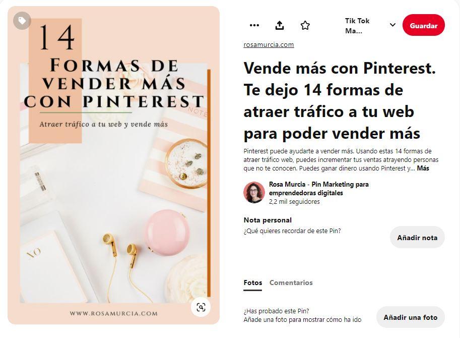 Pin 14 formas de vender más en Pinterest. Pin de artículo de blog. Rosa Murcia Pinterest manager
