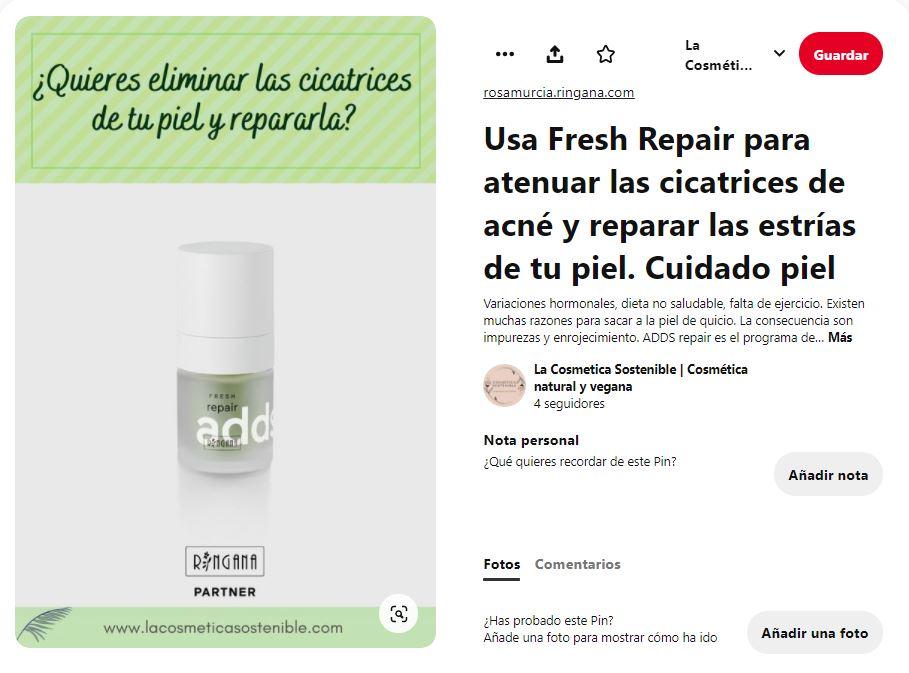 Ejemplo de pin de producto de cosmética natural y vegana de La Cosmética Sostenible