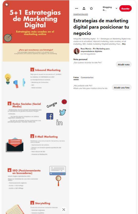 Pin de infografía sobre estrategias de marketing digital. Rosa Murcia Pinterest manager