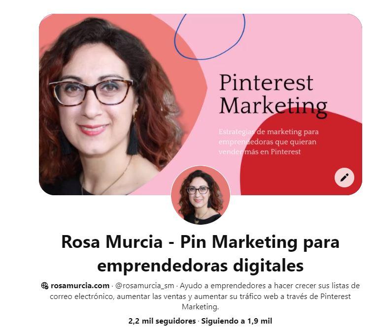Perfil de Pinterest de empresa. Rosa Murcia Pinterest manager