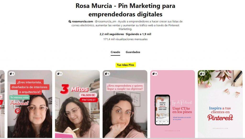 Pinterest almacena tus Idea Pins en tu perfil